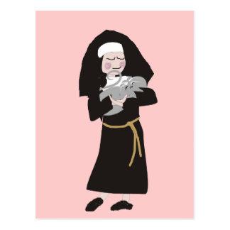 Nun Holding Grey Cat Gifts Postcard