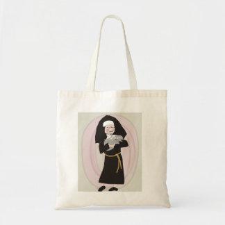 Nun Holding Grey Cat Tote Bag
