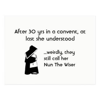 Nun joke - clean humour, Catholic Fun Postcard