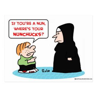 nun nunchucks postcard