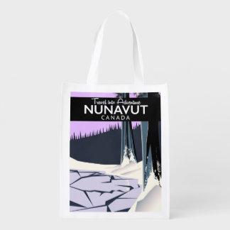 Nunavut Canada Travel poster Reusable Grocery Bag