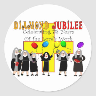 Nuns Diamond Jubilee 75th Year of Service Classic Round Sticker