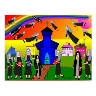 "Nuns ""Flying Nuns"" Whimsical Art Postcard"