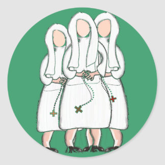 """Nuns Gifts """"Three Cloistered Sisters"""" Design Classic Round Sticker"""