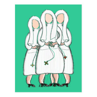 """Nuns Gifts """"Three Cloistered Sisters"""" Design Postcard"""
