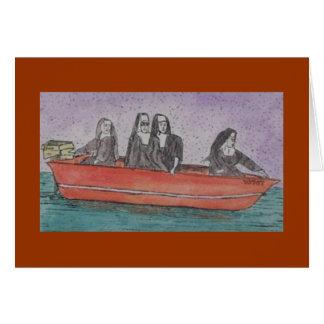 nuns in a boat card