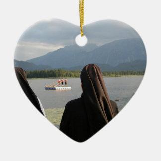 Nuns in Bavaria Ceramic Heart Ornament