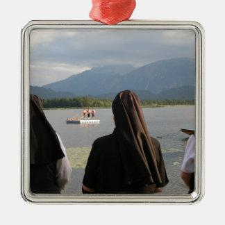 Nuns in Bavaria Silver-Colored Square Ornament