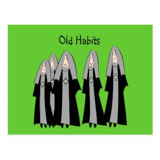 """Nuns """"Old Habits"""" Hilarious Nun Gifts Postcard"""