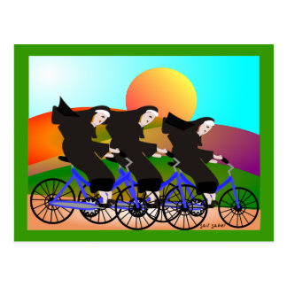 Nuns on Bicycles Art Gifts Postcard