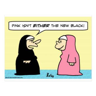 nuns pink new black postcard