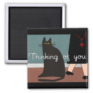 """Nuns """"Thinking of You"""" Cards & Gifts-Cat Design Magnet"""