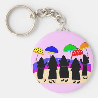 """Nuns With Umbrellas """"Expecting Rain"""" Keychain"""