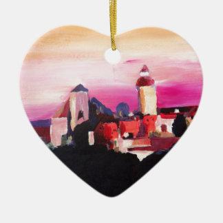 Nuremberg Castle at Dusk in Bavaria Germany Ceramic Heart Ornament