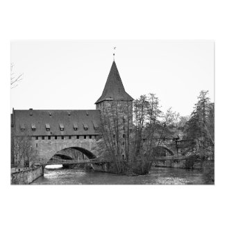 Nuremberg. Suspension bridge Kettensteg Photo Print