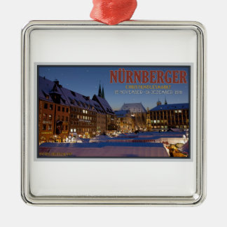 Nürnberg Christkindlesmarkt at Night Silver-Colored Square Ornament