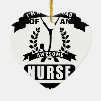 nurse and dad ceramic heart ornament