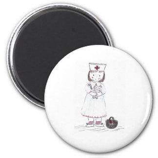 Nurse and Kitten 2 Inch Round Magnet