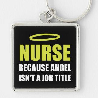Nurse Angel Job Title Silver-Colored Square Keychain