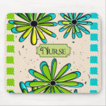 Nurse Artsy Floral Green and Blue Mouse Pad