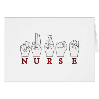 NURSE ASL FINGERSPELLED SIGN LANGUAGE CARD