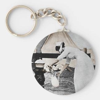 Nurse at Water Pump WWI Basic Round Button Keychain