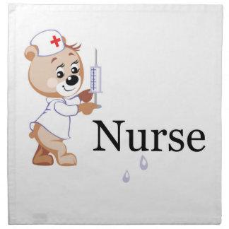 Nurse Bear Printed Napkin