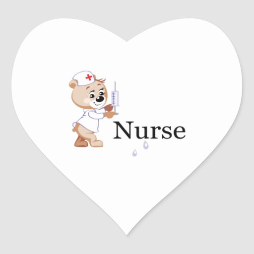 Nurse Bear Heart Sticker