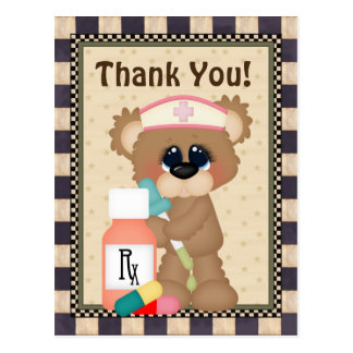 Nurse Bear Thank you postcard