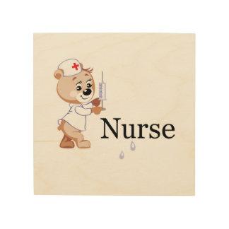 Nurse Bear Wood Print