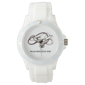 Nurse Behind the Wall white wrist watch