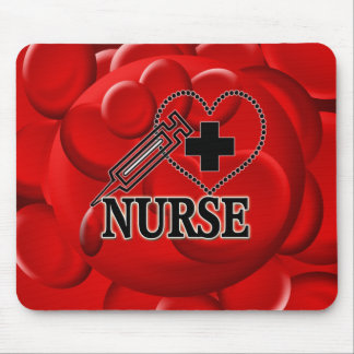 NURSE BLOOD CELLS SYRINGE HEART LOGO MOUSE PAD