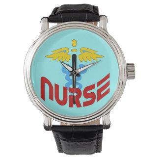 Nurse Caduceus (Custom Color Change Background Wristwatch