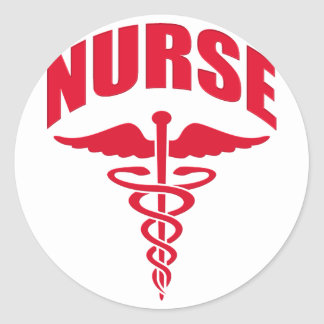 Nurse Caduceus Red Classic Round Sticker