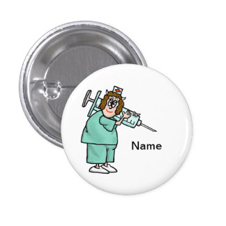 Nurse Carrying Giant Shot Needle Button