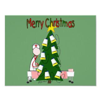 "Nurse Christmas Design ""Merry Christmas"" 4.25x5.5 Paper Invitation Card"