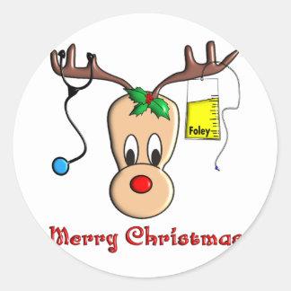 Nurse Christmas Reindeer Gifts Round Sticker