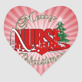 NURSE CHRISTMAS XMAS HEART STICKER