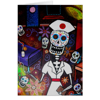 Nurse Day of the Dead Card