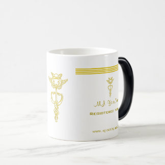 Nurse design with gold stripes and caduceus emblem magic mug