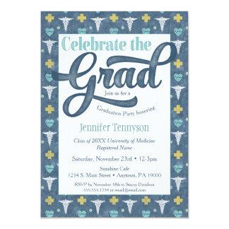 Nurse Doctor Graduation Invitation Blue LPN RN
