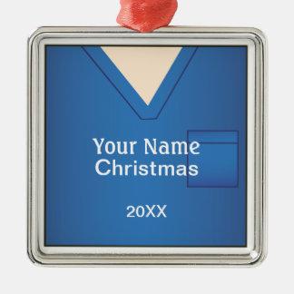 Nurse Doctor Scrubs Christmas Blue Premium 2 Metal Ornament