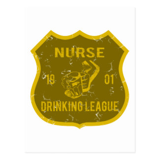 Nurse Drinking League Postcard