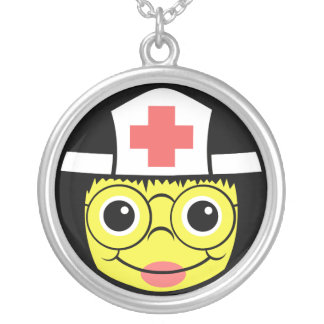 Nurse Face Silver Plated Necklace