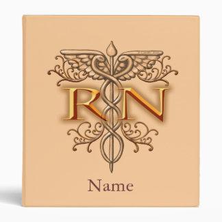 Nurse Fancy Copper RN Caduceus 3 Ring Binder