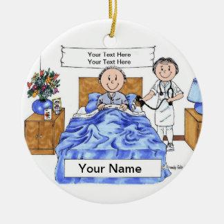 Nurse - Female, Adult Male Patient Ceramic Ornament