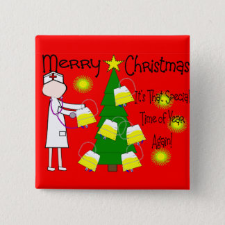 Nurse Funny and Twisted Christmas Humor 2 Inch Square Button