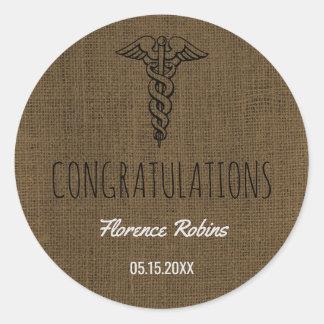 Nurse Graduate   Caduceus Graduation Burlap Classic Round Sticker