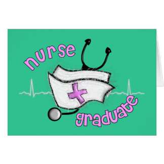 Nurse Graduate Gifts (Cap and Stethoscope Design) Card