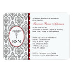 "Nurse Graduation BSN RN black burgundy damask 5"" X 7"" Invitation Card"